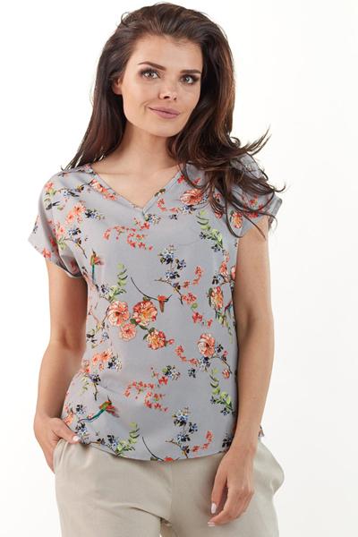 Lekka letnia bluzka w kwiatowy wzór szara