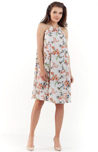 Letnia sukienka w kwiaty bez rękawów ecru