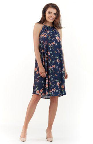 Letnia sukienka w kwiaty bez rękawów granat
