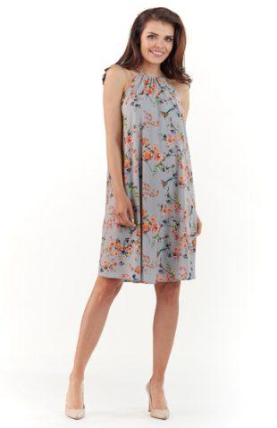 Letnia sukienka w kwiaty bez rękawów szara