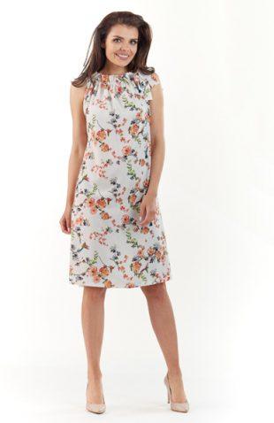 Letnia sukienka w kwiaty z plisowaną stójką ecru