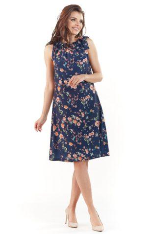 Letnia sukienka w kwiaty z plisowaną stójką granat