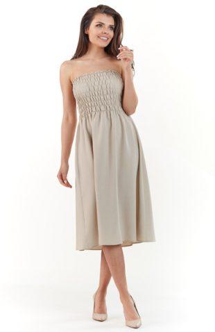 Gorsetowa sukienka midi na lato beż