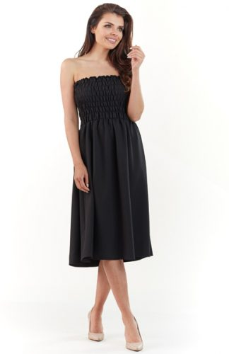 Gorsetowa sukienka midi na lato czarna