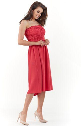 Gorsetowa sukienka midi na lato czerwona