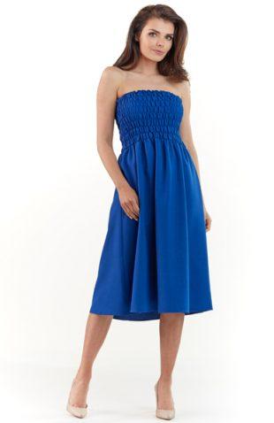 Gorsetowa sukienka midi na lato niebieska