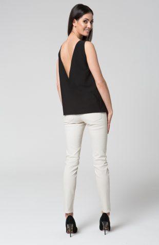 Elegancki top z dekoltem V na plecach czarny