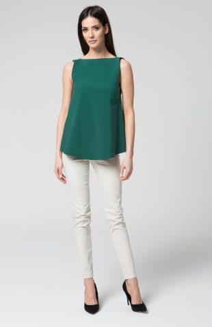 Elegancki top z dekoltem V na plecach zielony