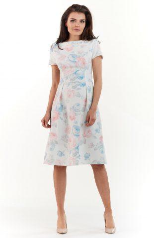 Sukienka do kolan na lato w pastelowe kwiaty