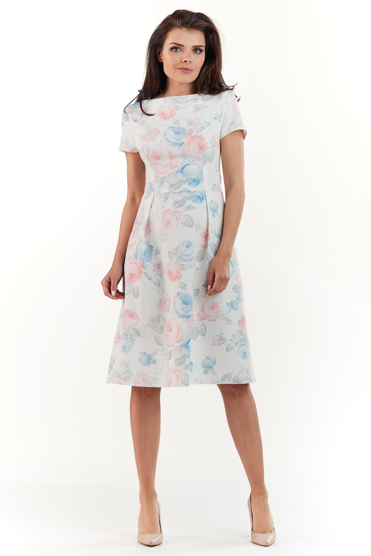 6177435824 Sukienka do kolan na lato w pastelowe kwiaty - wysyłka od 5