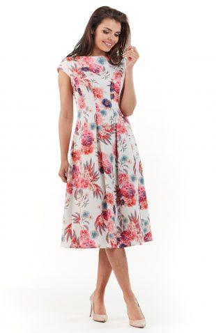 Sukienka plisowana midi na lato w kwiaty