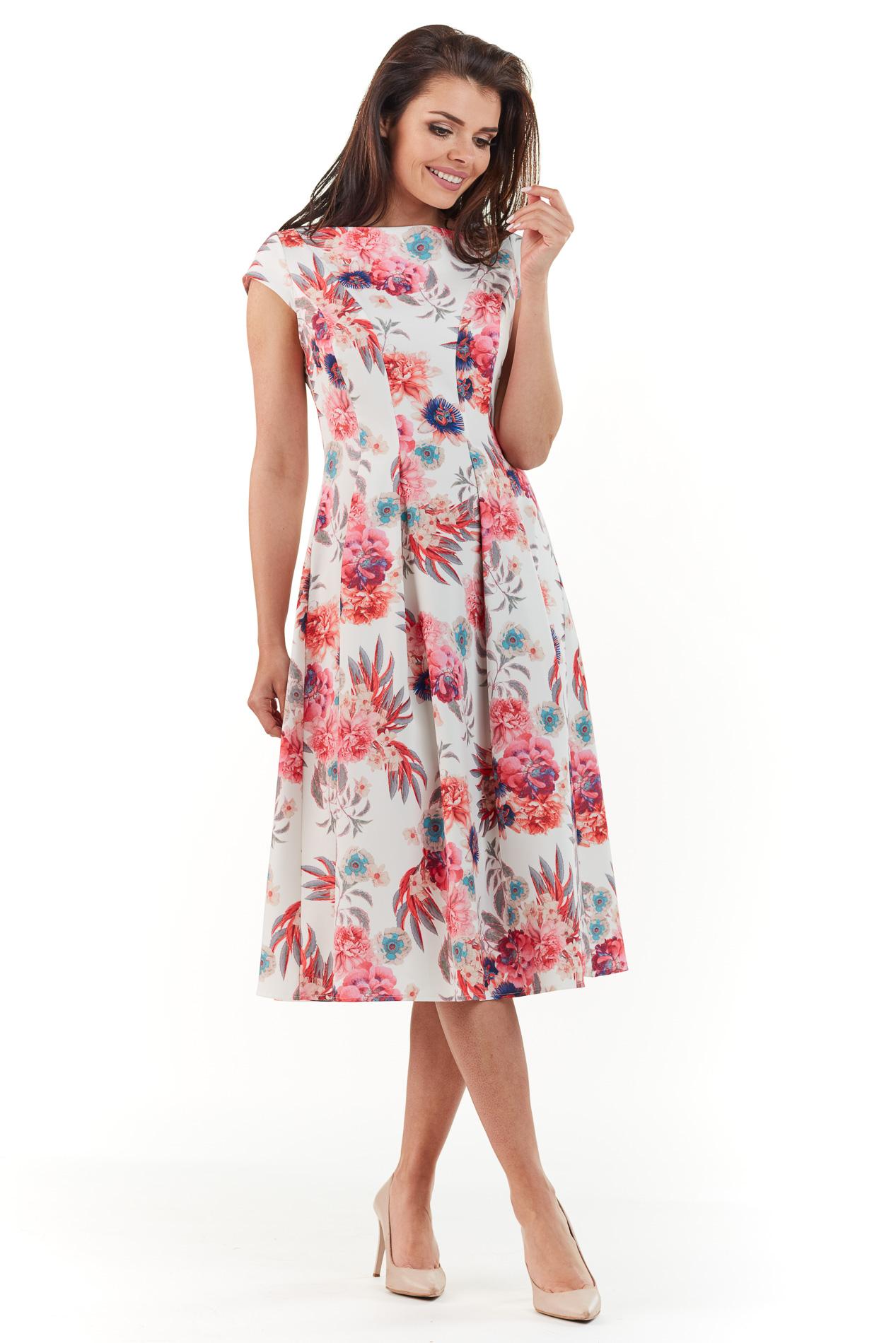 82a3e26e42 Sukienka plisowana midi na lato w kwiaty - wysyłka już od 5