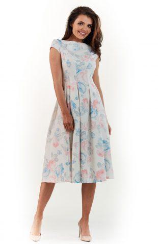 Sukienka plisowana midi na lato w pastelowe kwiaty