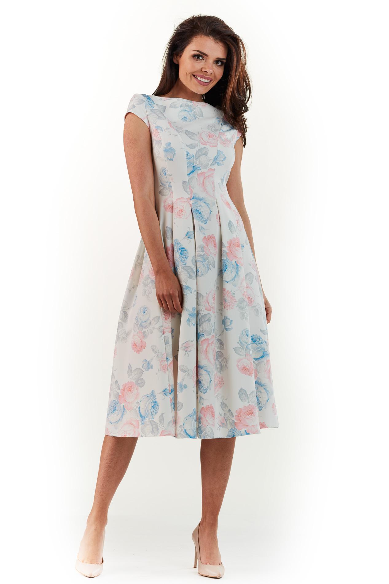 e3dddee69b Sukienka plisowana midi na lato w pastelowe kwiaty - wysyłka od 5