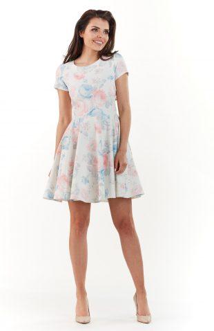 Sukienka mini na lato w pastelowe kwiaty