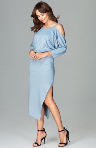 Sukienka asymetryczna z kimonowym rękawem niebieska