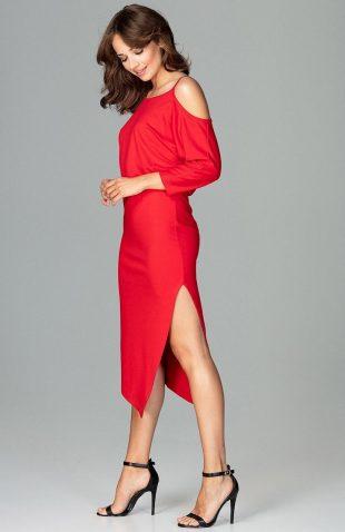 Sukienka asymetryczna z kimonowym rękawem czerwona