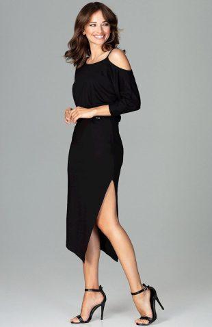 Sukienka asymetryczna z kimonowym rękawem czarna