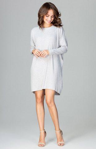 Sukienka dzianinowa oversize szara