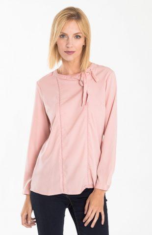 Elegancka bluzka z dekoracyjnym wiązaniem przy dekolcie