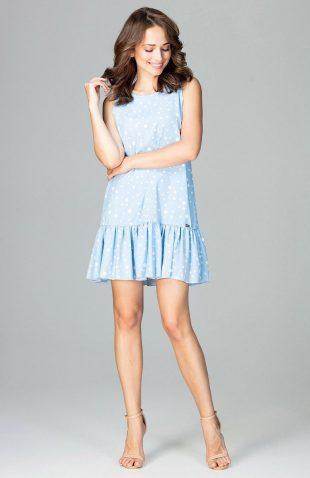 Sukienka bez rękawów z falbaną na dole błękit