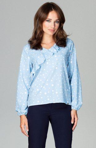 Delikatna bluzka z falbaną błękit