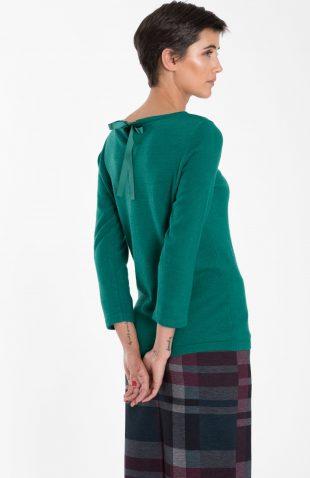 Ciepły sweter z wiązaniem na plecach zielony