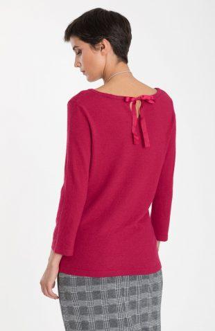 Ciepły sweter z wiązaniem na plecach bordo