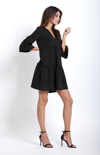 Elegancka sukienka do kolan z falbanami czarna