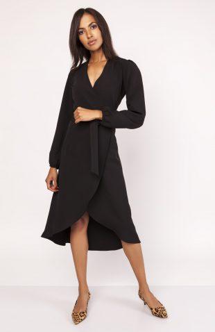 Elegancka sukienka z przedłużanym tyłem czarna