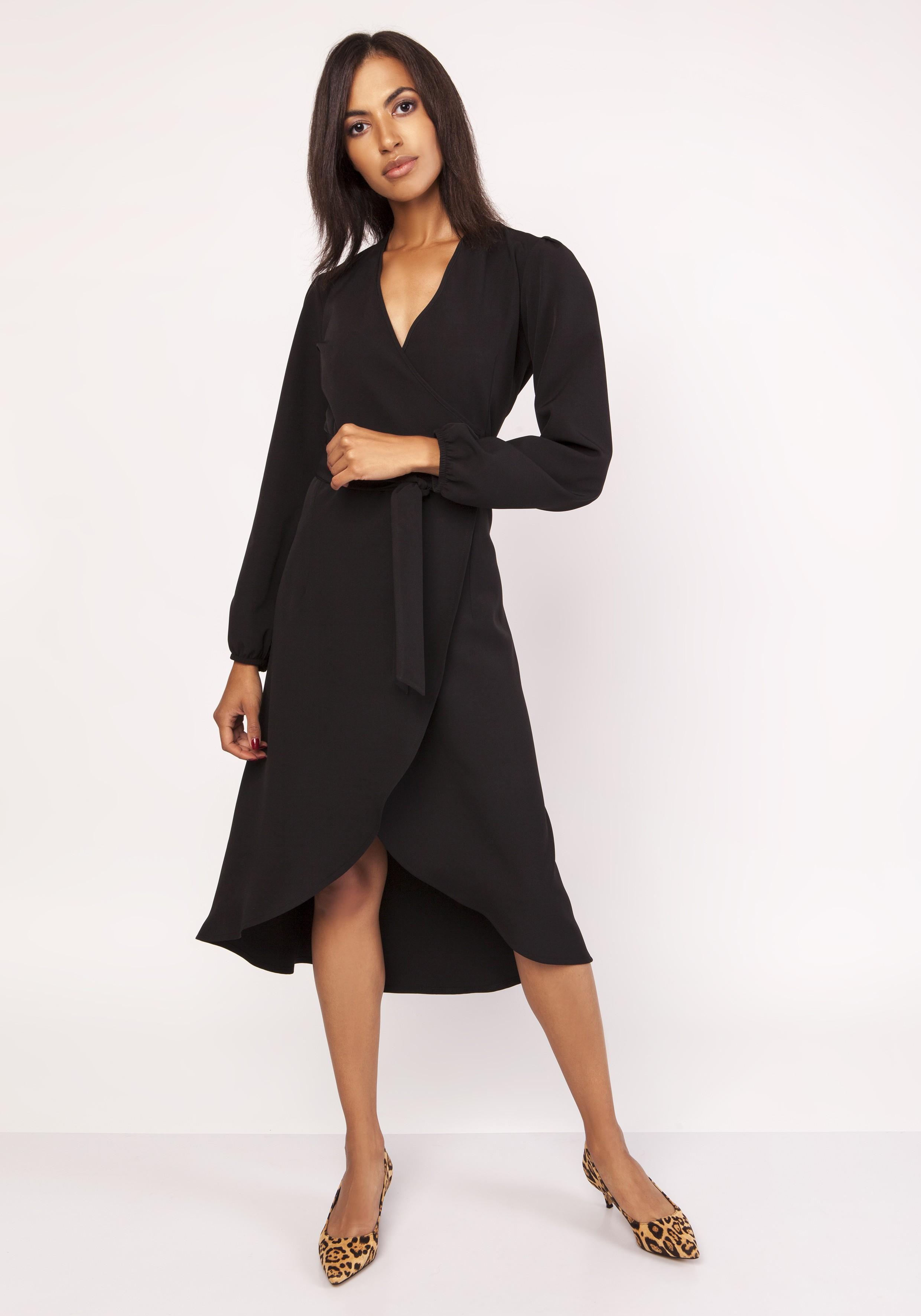 a5c869b238 Elegancka sukienka z przedłużanym tyłem czarna - kurier już od 5