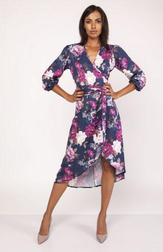 Kopertowa asymetryczna sukienka w kwiaty