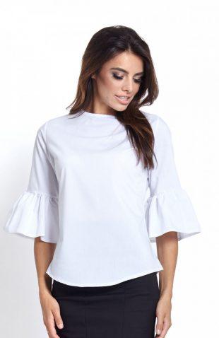 Elegancka koszula z falbanami przy rękawach biała