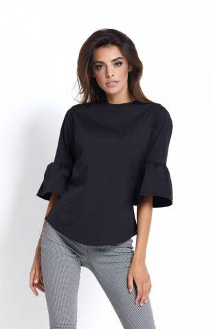 Elegancka koszula z falbanami przy rękawach czarna