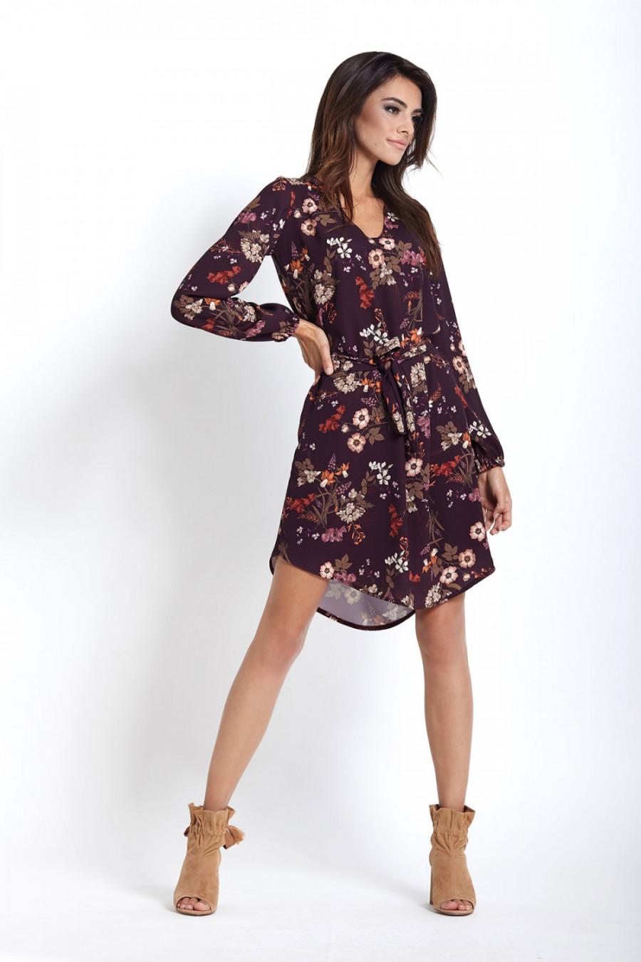 0d78b7a7e0 Sukienka na jesień z długim rękawem w kwiaty - sukienki szyte w Polsce