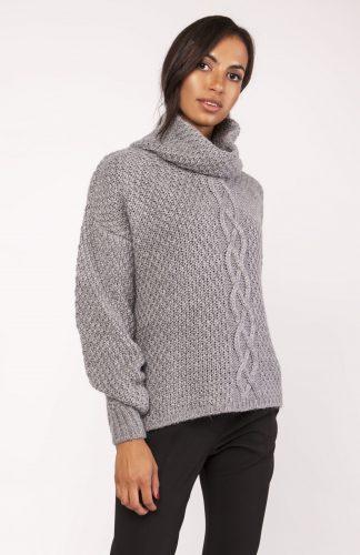 Ciepły gruby sweter z golfem grafit