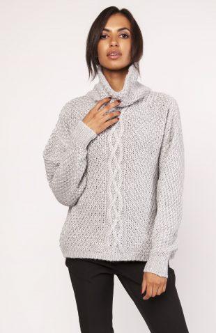 Ciepły gruby sweter z golfem szary