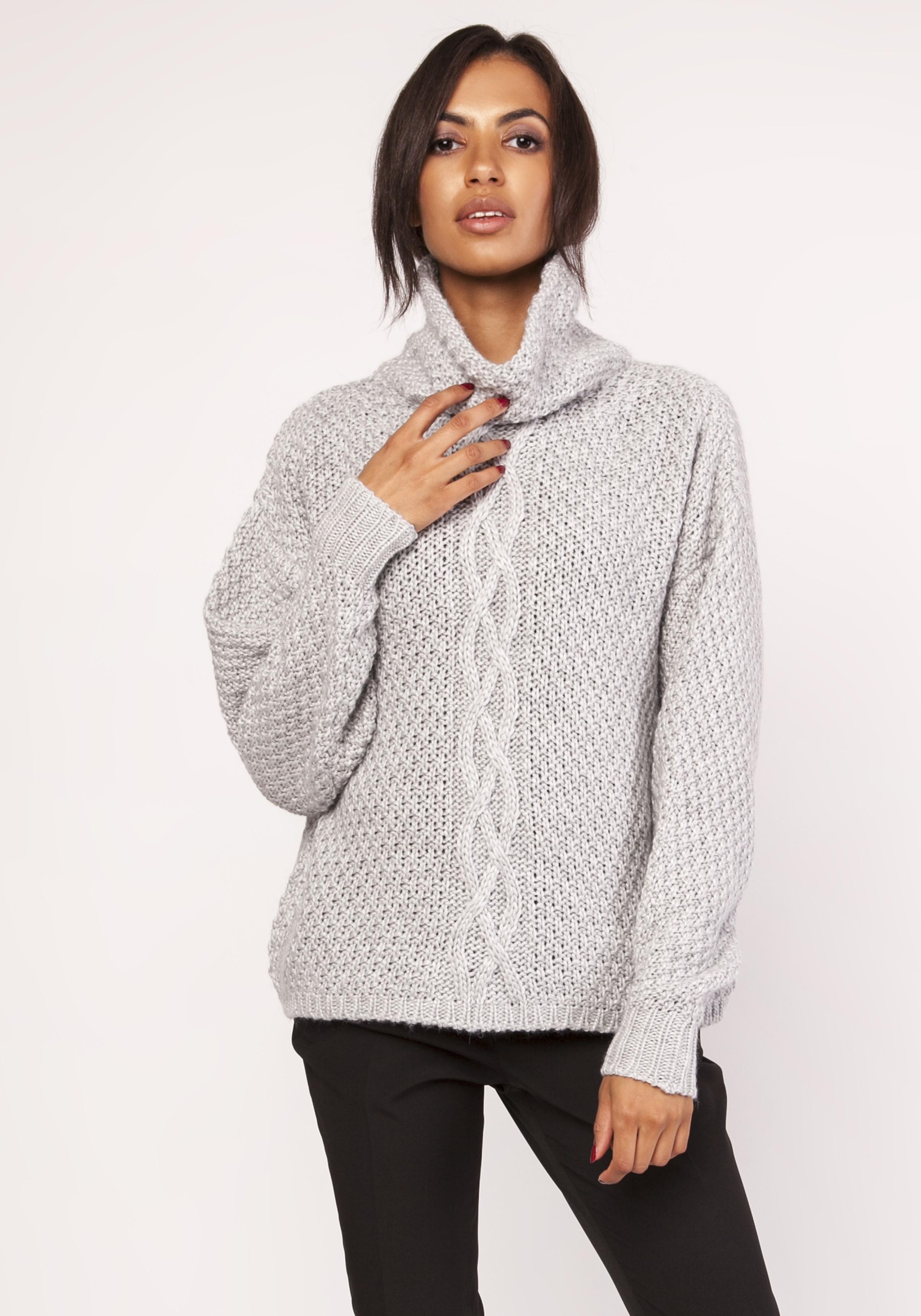 85a4476f Ciepły gruby sweter z golfem szary