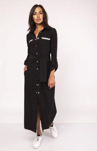 Długa sukienka do kostek zapinana na napy czarna