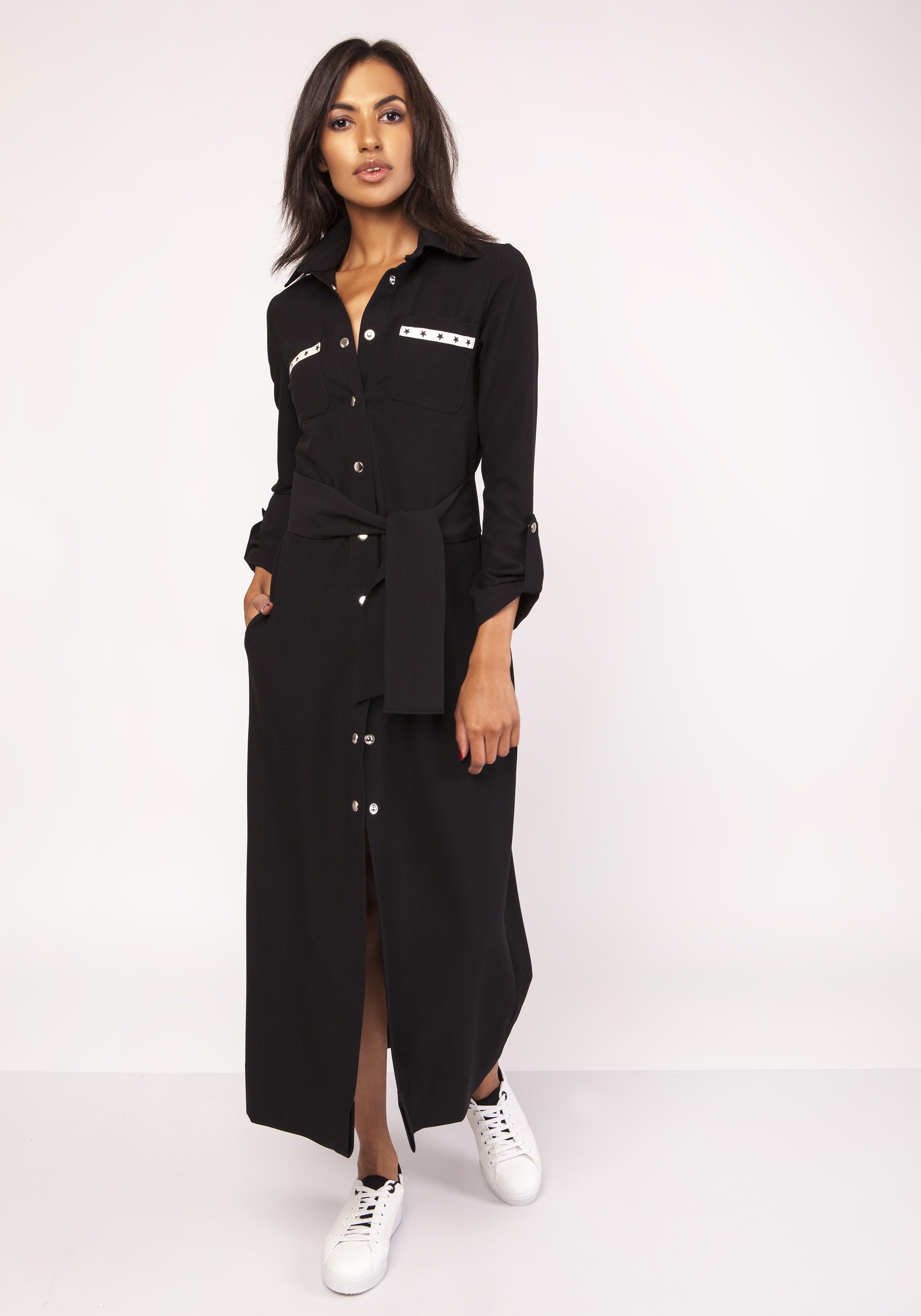 e571b2b865 Długa sukienka do kostek zapinana na napy czarna - wysyłka od 5
