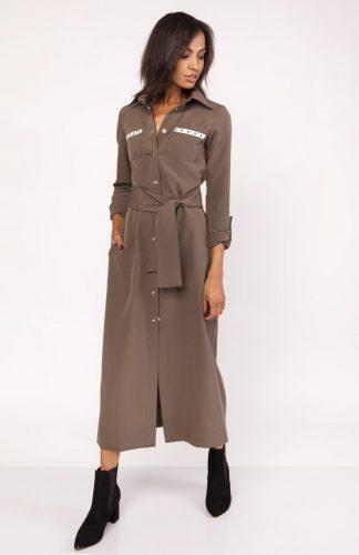 Długa sukienka do kostek zapinana na napy khaki