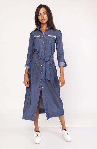Długa sukienka do kostek zapinana na napy jeans