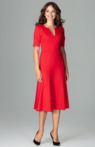 Elegancka sukienka do biura rozkloszowana czerwona