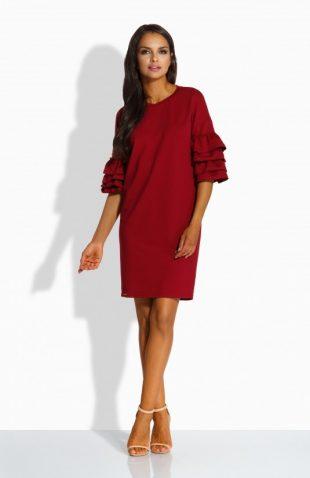 Luźna sukienka w stylu hiszpanka z falbanami