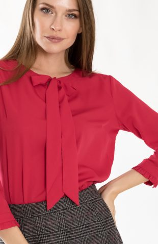 Bluzka do biura czerwona z dekoracyjnym wiązaniem