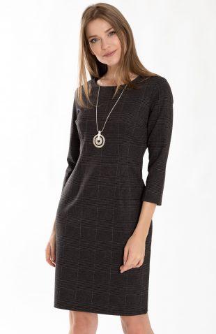 Dopasowana sukienka w kratę do pracy
