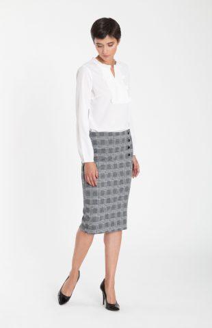Elegancka spódnica ołówkowa w dużą kratę