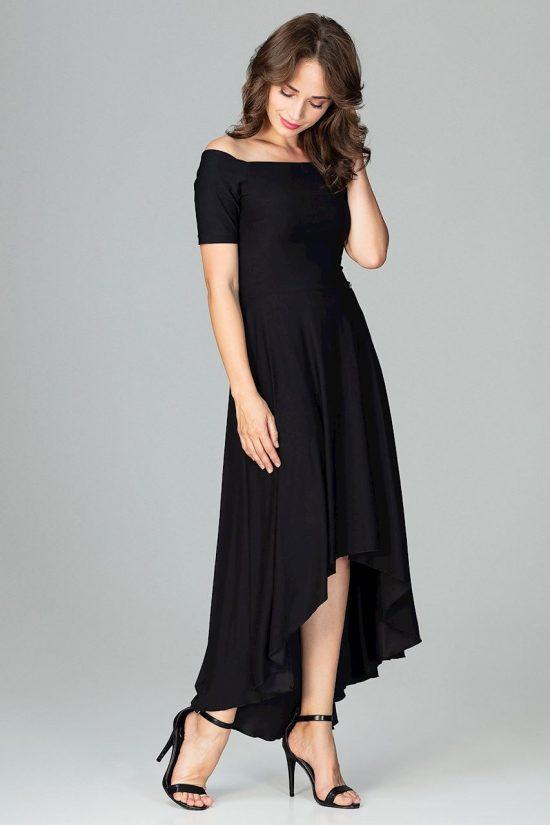Sukienka wizytowa bez ramion asymetryczna czarna