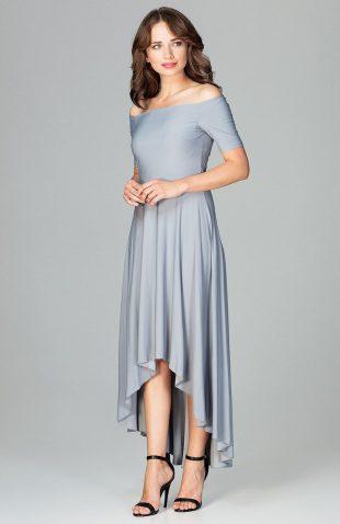 Sukienka wizytowa bez ramion asymetryczna szara