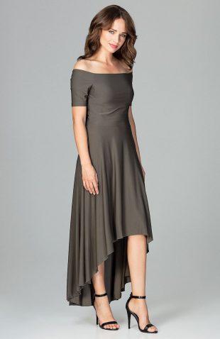 Sukienka wizytowa bez ramion asymetryczna oliwkowa